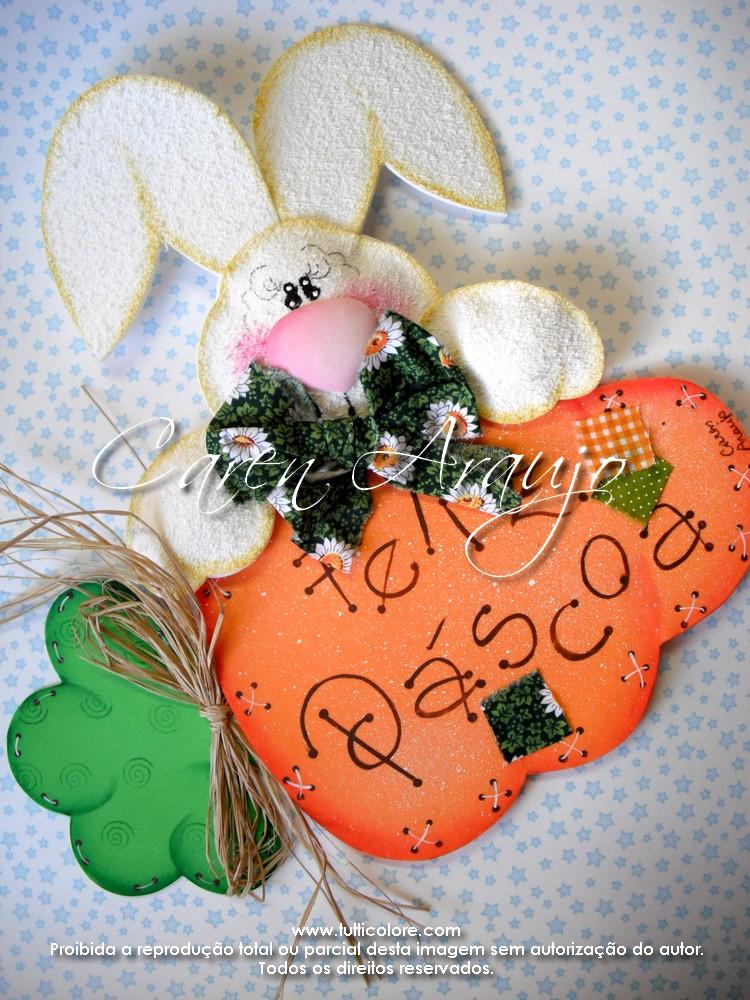 Conejo adorno country para Pascua
