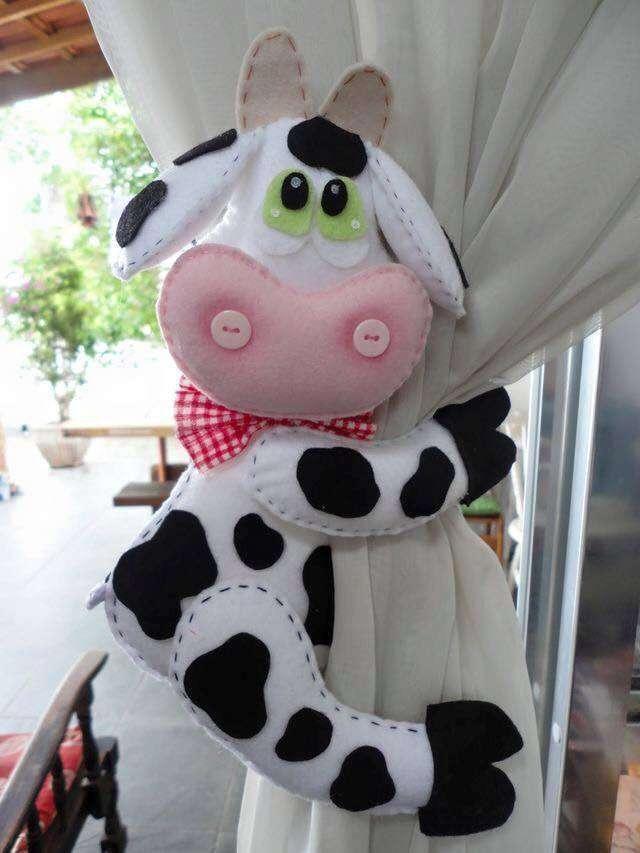 vaca vaquita en la cocina sujetador para la cortina